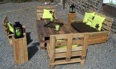 Salon de jardin en palette de bois salons - Fabriquer son salon de jardin avec des palettes ...