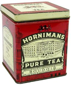 Hornimans Pure Tea Boudoir tea tin ... decorated with drawing of tea factory, red with gold and black lettering and decoration