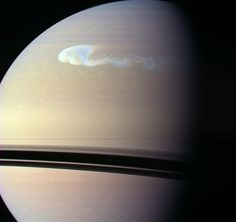 Saturn Storm  Credit: Cassini Imaging Team, SSI, JPL, ESA, NASA; Color Composite: Jean-Luc Dauvergne    Explanation: Late last year, a new, remarkably bright storm erupted in Saturn's northern hemisphere. Amateur astronomers first spotted it in early December, with the ringed gas giant rising in planet Earth's predawn sky. Orbiting Saturn, the Cassini spacecraft was able to record this close-up of the complex disturbance from a distance of 1.8 million kilometers on December 24th