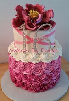 Sweets By Design - Elegant Sweet 16 birthday cake with pink ombre rosette bottom & white fondant top. Topped with gumpaste peony & rhinestone 16. - San Jose, CA, United States