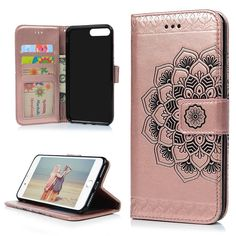 iPhone 7 Plus Case, iPhone 8 Plus Case, 3D Relief Embossed Mandala Floral Pattern PU Leather Soft TPU Inner Card ID Holder Wrist Strap Stand Magnetic Folio Flip Wallet Cover by YOKIRIN, Gold