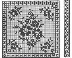 Filet Crochet Charts, Crochet Diagram, Crochet Motif, Crochet Stitches, Knit Crochet, Crochet Patterns, Cross Stitch Flowers, Cross Stitch Patterns, Crochet Dollies