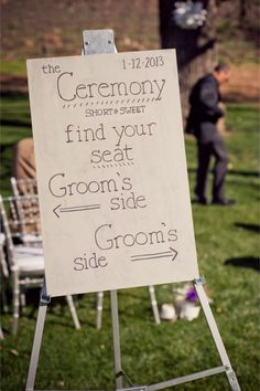 Find your seat wedding ceremony sign | Jillian Rose Photography | http://burnettsboards.com/2013/11/love-love/