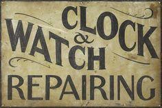 Lot:Painted zinc Clock & Watch Repairing trade sig, Lot Number:490, Starting…