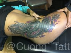 Finish this Sick Dragon Cover up Thigh Tattoo! Big Thank to you client for sitting like a champ.