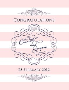 Pink and White Stripe Glam Welcome Sign. $10.00, via Etsy. Lillian Kate