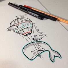 Brazilian tattoo artist creates designs inspired by children& universe - Balloon Tattoo, Doodle Designs, Wal, Ink Art, Air Balloon, Easy Drawings, Doodle Art, Painting & Drawing, Tattoo Artists