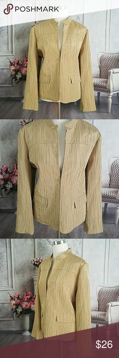 """Alfred Dunner Gold Size 14 Coat Jacket Blazer Beautiful crinkled textured gold dress jacket  Brand: Alfred Dunner Size: 14 Condition: Excellent preloved  Color: Gold Lined: Yes Occasion: Career, Occasion Material: 77% Polyester, 23% Rayon Dry Clean Only Zipper Closure Bust: 22"""" Waist: 21"""" Hips: 23"""" Length: 25"""" Sleeve Length: 24"""" Shoulder Width: 17"""" 2 Functional Front Pockets Product Code: 032818 Alfred Dunner Jackets & Coats Blazers"""