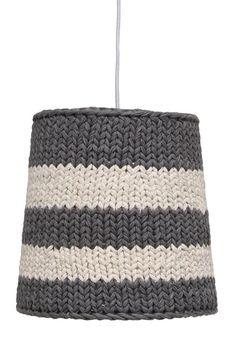 HK-living Hanging lamp made of cotton knit, gray / cream, Diy Abat Jour, Retro Lighting, Crochet Yarn, Decoration, Hand Knitting, Retro Vintage, Lights, Pure Products, Creative