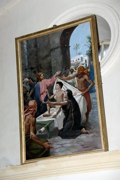 Painting of Jesus raising the Widow son at the Franciscan's Widow's Son Church at Nein, Israel