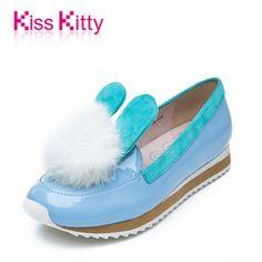 Kiss Kitty专柜女鞋2015春新款兔耳毛毛球平底休闲鞋甜美低跟单鞋