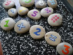 COUNTING ROCKS...a fun childrens math game,back to school. $24.00, via Etsy.