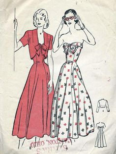 1948 Butterick 4527 Vintage 1940s Strapless Evening Gown Pattern Bow Tied Front