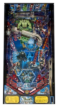 """""""The Avengers"""" Pinball Machine Playfield Retro Arcade, Video Game Music, Video Games, Modern Man Cave, Pinball Wizard, Penny Arcade, Retro Images, The Dark Knight Rises, Man Of Steel"""