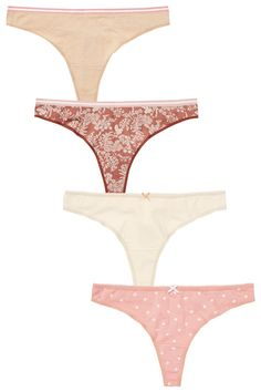 9444dedddd2 Buy Floral Print Thong Cotton Knickers Four Pack from the Next UK online  shop