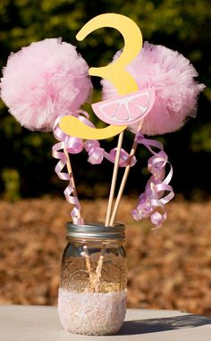 This listing is for a custom Pink Lemonade centerpiece. You choose number. You will receive: 1 number stick made from glittery yellow card stock