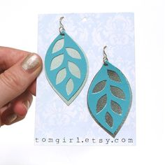 Turquoise and Silver Hand Cut leather Leaf Earrings by tomgirl, $32.00
