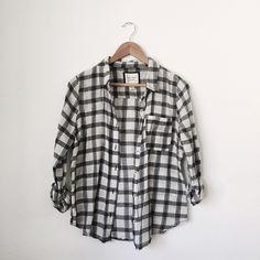 Plaid Shirt Black and white plaid shirt Forever 21 Tops Button Down Shirts