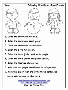 Christmas Preschool Worksheets Follow the Direction are learning important social holiday word Christmas Printables for any Word List Christmas Writing, Hi everyone, Have you tried out my Fluency & Comprehension FREEBIE yet?? It is jam packed with fun activities to try out with your students! Everything is NO This free printable is a great December activity for following directions. You can find similar activities Christmas Following Directions Spatial Words Worksheet. Kindergarten Worksheets, In Kindergarten, Kindergarten Christmas, Following Directions Activities, Listening Skills, Language Activities, Listening Activities, Therapy Activities, Speech And Language