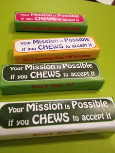 """Great for asking people to accept positions! Amason Gum for Girls Camp """"Mission Possible"""" Pillow Treats, Detective Party, Mission Possible, Church Camp, Lds Church, Church Ideas, Spy Party, Camping Pillows, Vacation Bible School"""