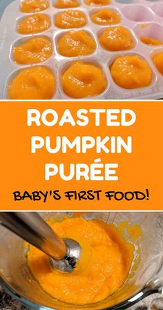 Homemade roasted pumpkin puree for baby's first food! Easy recipe for moms to make homemade baby food. Many recommendations suggest pumpkin as one of the first foods, because it's mildly flavoured and super healthy! Roast Pumpkin, Pumpkin Puree, Baby Puree Recipes, Baby Food Recipes, Baby First Foods, Baby Weaning, Homemade Baby Foods, Baby In Pumpkin, Organic Baby