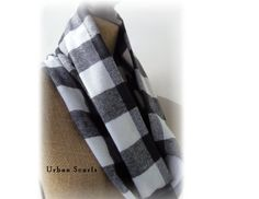 Infinity scarf  Black And White Plaid Flannel by UrbanScarfs