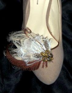 Shoe Clips  Fluer de lis feather shoe clips by ShoeClipsOnly, $36.00