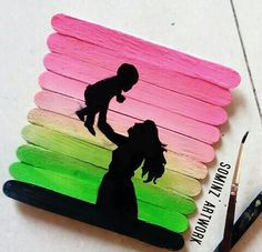 59 New Ideas Silhouette Art Painting Diy Fun Popsicle Stick Art, Popsicle Stick Crafts For Kids, Craft Stick Crafts, Ice Cream Stick Craft, Oil Pastel Drawings, Art Drawings Sketches Simple, Art Painting Gallery, Diy Painting, Art N Craft