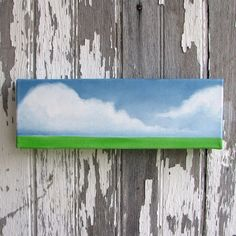 Original oil painting cloud landscape wall art green grass summer art abstract home decor - Latitude series four. $90.00, via Etsy.