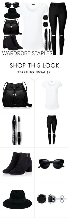 """""""wardrobe staples"""" by j-n-a ❤ liked on Polyvore featuring Kate Spade, Joseph, Lancôme, Maison Michel, BERRICLE, whitetshirt and WardrobeStaples"""
