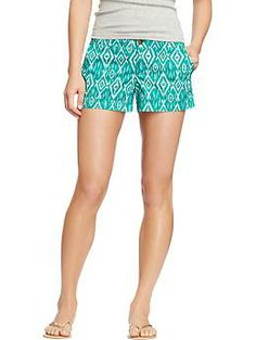 "In love with printed shorts this summer! Old Navy Women's Printed Cuffed-Twill Shorts (3-1/2"")"