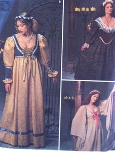 Simplicity Costume Pattern 8192 - Medieval Costumes Misses Size 16, 18, 20. $5.00, via Etsy.