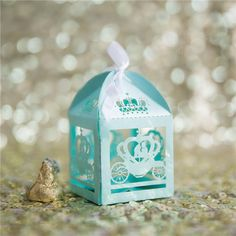 inexpensive light blue fairy tale laser cut wedding favor boxes EWFB135