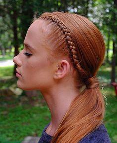 dressed up low ponytail & simple braid