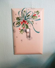 Items similar to Vintage Christmas Holly and bow Handmade light switch cover on Etsy Old Time Christmas, Vintage Christmas, Christmas Bathroom, Light Switch Covers, Wonderful Time, Unique Jewelry, Winter, Handmade Gifts, Holiday