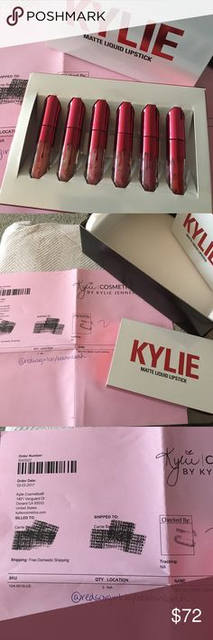 Brand New LE Kylie Cosmetics Val Day Mini Lippies Never opened/swatched. 6 colors in a range of nudes, pinks and one red. 3 brand new LE colors : Apricot, Head Over Heels and High Maintenance and 3 current collection colors : Maliboo, Posie K and Mary Jo K. 🚫Trades, please don't ask. 🚫Deals outside of Posh. Does NOT come with Kylie black shipping box and postcard unless bundled with another Kylie item in my closet. Pet friendly, smoke free home. Thanks for stopping by my closet! 😊 Kylie…