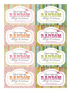 Free Printable Random Act of Kindness cards