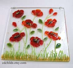 Poppy Picture in Fused Glass (Art Glass Picture). $55.00, via Etsy.