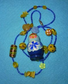Sweet Sunny Yellow and Frosty Blue Russian Doll Necklace