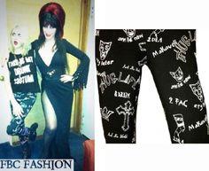 Frances Bean Cobain wears an O'mighty Thug Life Leggings while meeting Elvira (Cassandra Peterson).