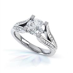 """Striking contemporary engagement ring with central 1.00ct diamond above double """"snake tongue"""" style diamond set shoulders."""