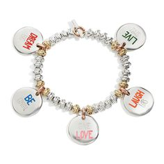 bracciale dei buoni propositi, to do list bracelet, monetine, argento, silver, dream big, live simply, be grateful, give love, laugh lots, queriot, civita