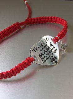 9dc83f1d4e30 Pulsera Corazón en Plata de Ley y cordón macramé de color. Regalo  personalizado especial día