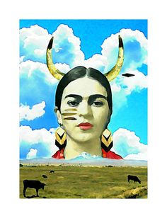 Frida Kahlo Art Watercolor A3 Photomontage Print Quote Original Signed Mixed Media Collage Wishes Modern Home Wall Decor