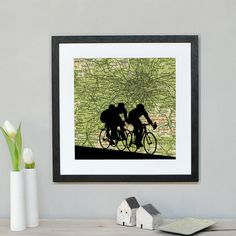 Cycling Silhouette over personalised map by Atlasandimaps on Etsy