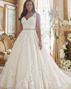 V Neck Sexy Ball Gown Wedding Dresses at Bling Brides Bouquet - Online Bridal Store