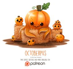 Cute art Day 1414. Octoberpus by Cryptid-Creations.deviantart.com on @DeviantArt