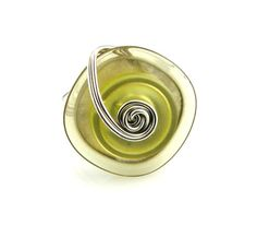 Layered Button Ring Lime Green by TrinketsNWhatnots on Etsy