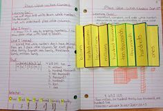 Runde's Room: Math Journal Sundays - Place Value She does one every Sunday so keep checking her out! Teaching Place Values, Teaching Math, Teaching Ideas, Math Teacher, Teacher Stuff, Teacher Tools, Interactive Math Journals, Math Notebooks, Maths Journals