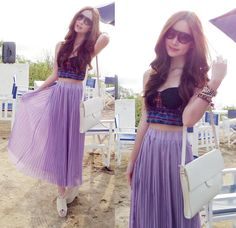 Amber Avenue Tribal Bralet, Amber Avenue Lilac Pleated Maxi Skirt, Zara White Slim Bag, House Of Holland Sunglasses